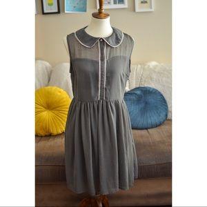 Apricity Olive Green Peter Pan Collar Dress